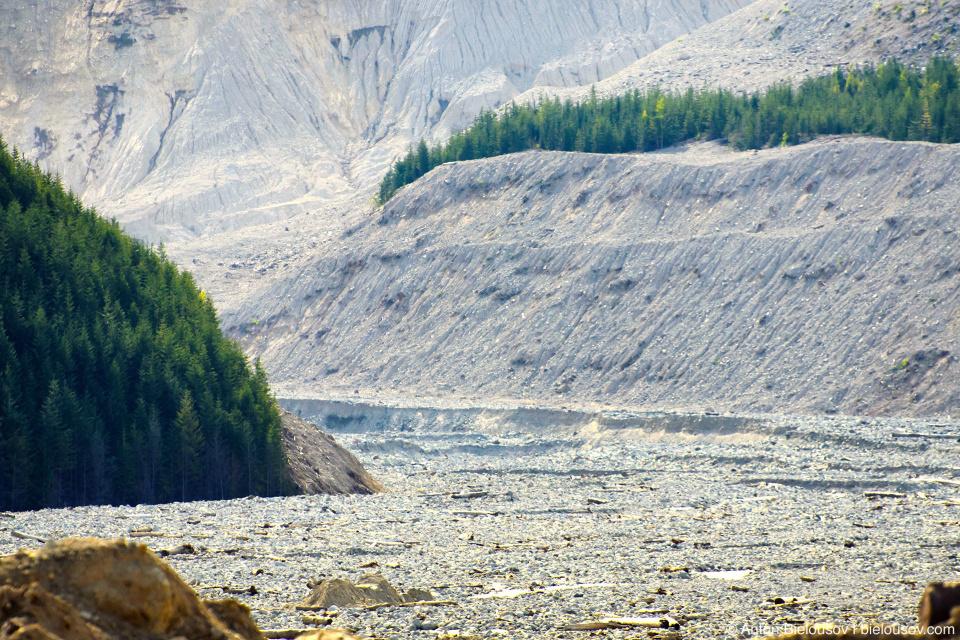 Завалы на месте оползня Meager Mountain 2010 года в долине Lillooet River в районе городка Pemberton, BC