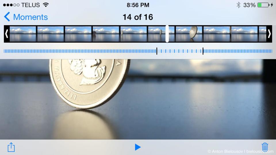 iPhone 5s 120fps Slo-mo video editing UI
