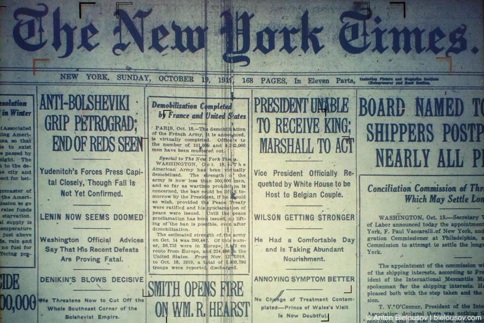 Первая полоса New York Times за 19 октября 1919 года: американцы уверены, что новая красная власть в Петрограде падет а Ленин уже проиграл.