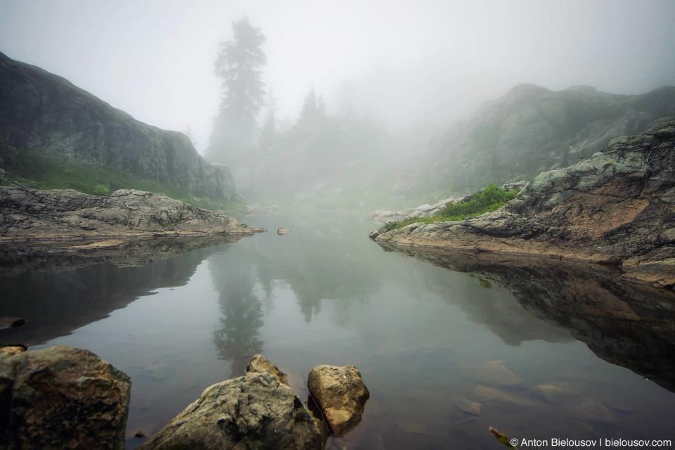 Seymour Mountain trail foggy lake