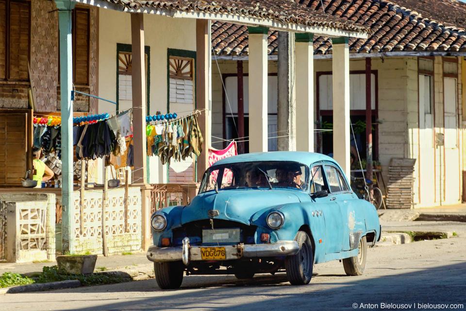 Vintage car on Camajuani street, Villa Clara, Cuba