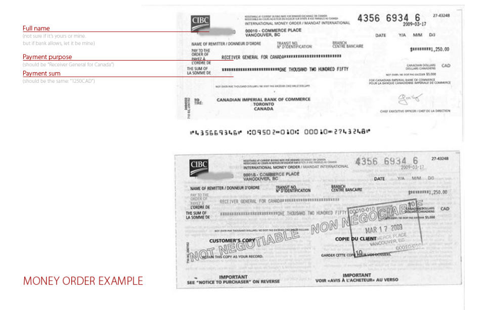 Money Order for Federal Skilled Worker Program example