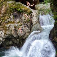 Прыжки со скалы в каньоне Lynn Canyon