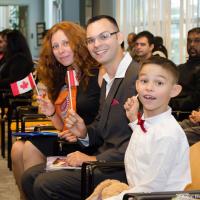 Это вторая церемония вручения гражданства на которой я присутствовал и третья, на которой была жена и мы сходимся во мнении что самая херовая. Зато быстро. Все проходило в том же зале где сдавали экзамен в даунтауне Ванкувера.