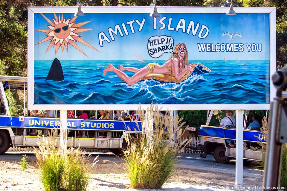 Jaws Lake Billboard at Universal Studios Backlot, Hollywood, CA