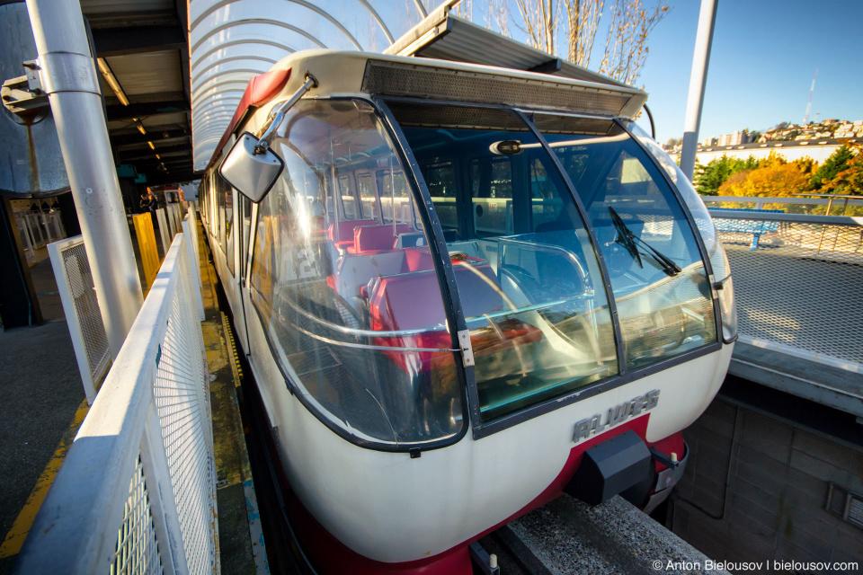 Red Alweg Monorail train on Station (Seattle, WA)