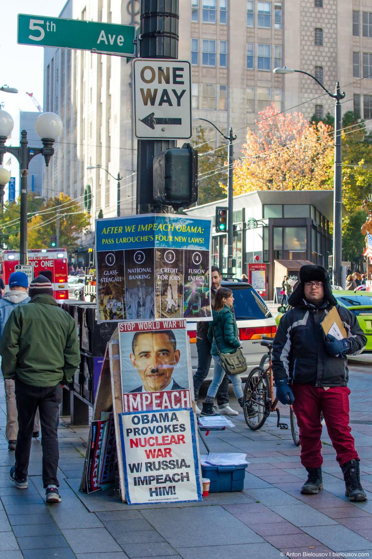Protest: Obama provokes nuclear war w/ Russia — impeach him (Seattle, WA)