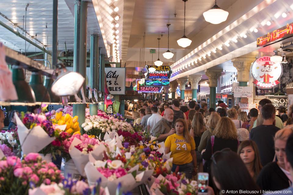 Цветочный рынок в Сиэтле (Pike Place fish market, Seattle, WA)