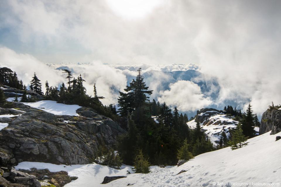 Утренние облака над Каскадными горами