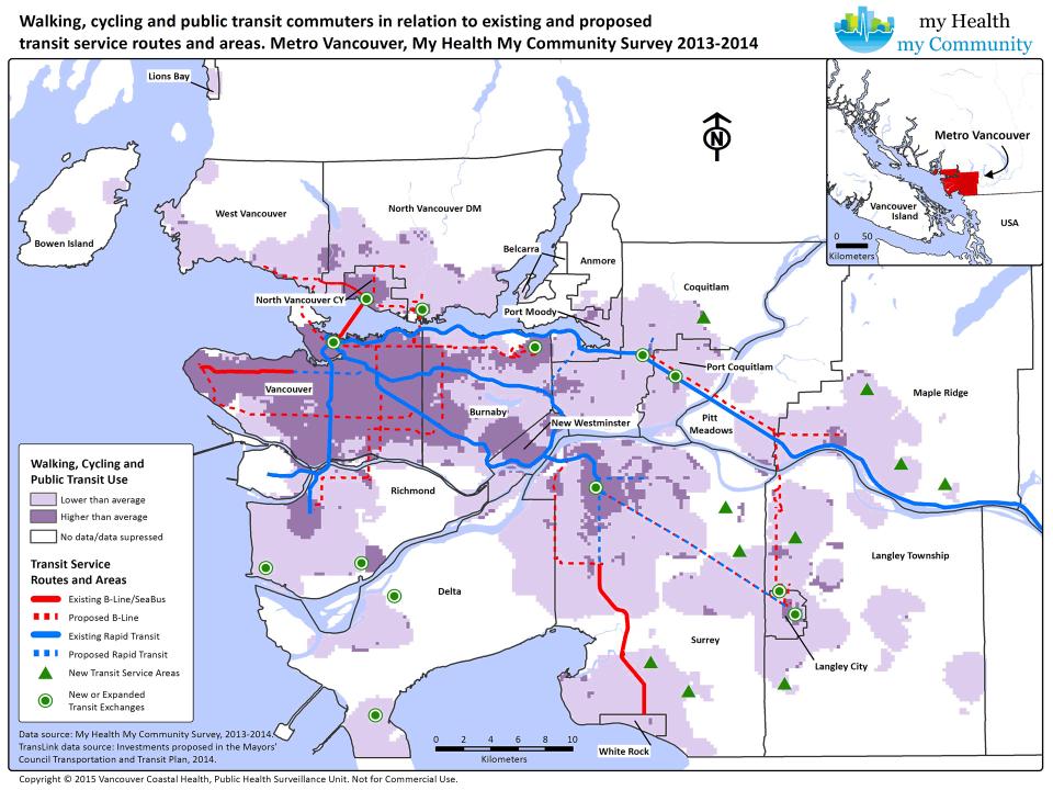 Планируемые улучшения инфраструктуры на статистической карте пользования велосипедами и общественным транспортом в Ванкувере (чем светлее тем больше людей полагаются на машины)