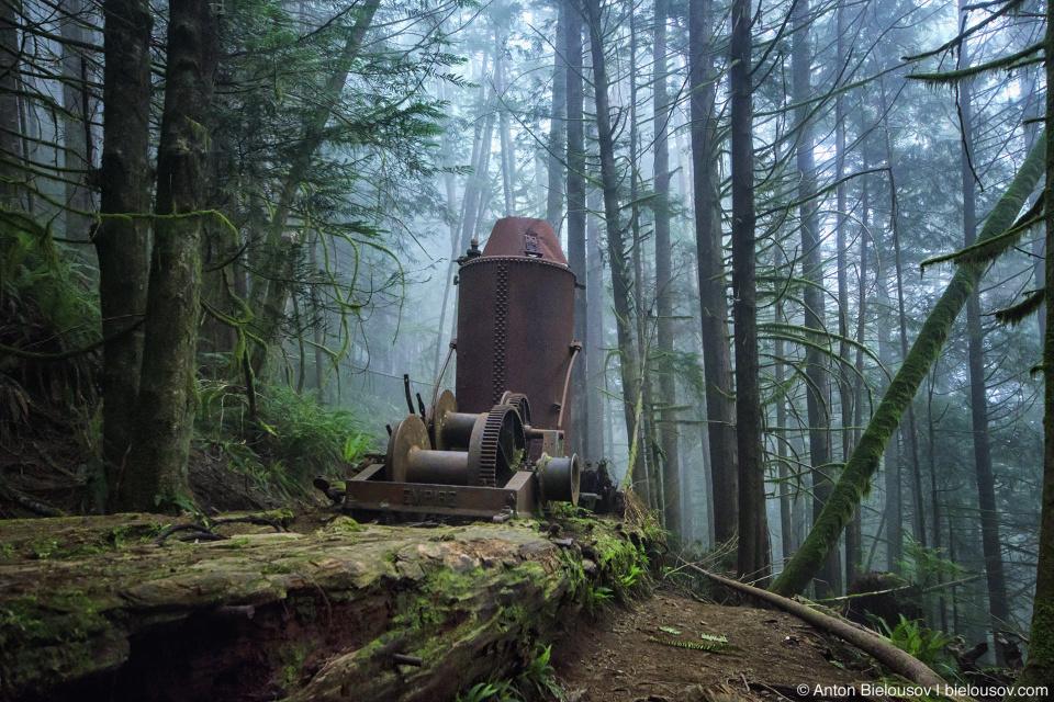 West Coast Trail steam donkey engine on 72km