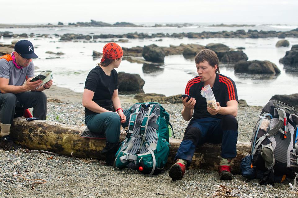 Привал на пляже, West Coast Trail