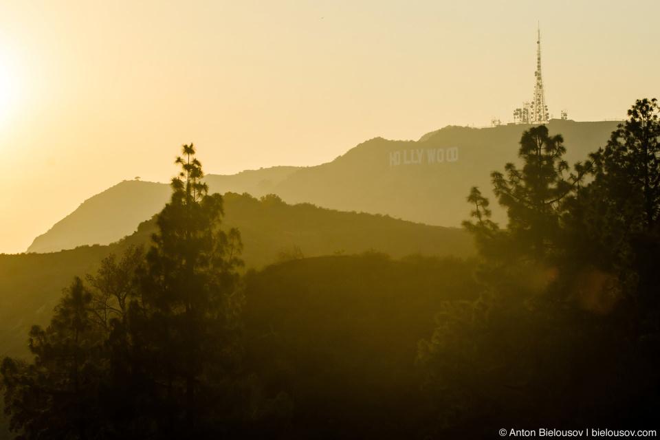 Вид на знак Голливуд из Обсерватории Гриффита