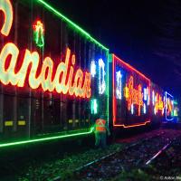 На то, чтобы украсить поезд требуется 100 дней работы 30-ти железнодорожных эльфов и 4.5км LED гирлянд. При длине поезда с 14-ю вагонами 300 м.