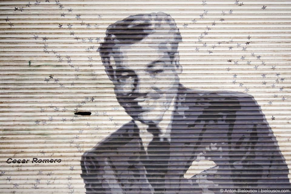 Cesar Romano mural art, Hollywood Boulevard, Walk of Fame