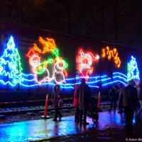 Говорят что идея праздничного поезда зародилась в 1997 году когда железнодорожная компания (Canadian Pacific) взялась бесплатно к рождеству доставить контейнеры с едой для нуждающихся в Британской Колумбии со складов в Онтарио. Похоже, тогда на сэкономленную было решено нарядить их праздничными огоньками.