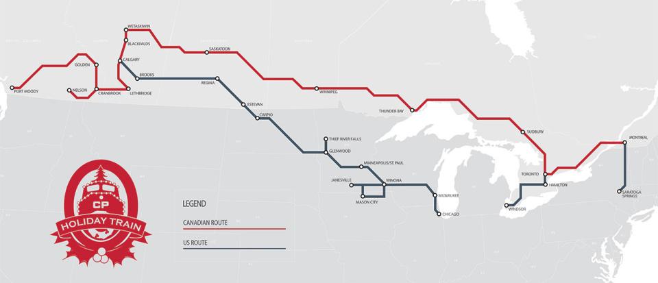 Карта маршрута Канадского и Американского праздничных поездов