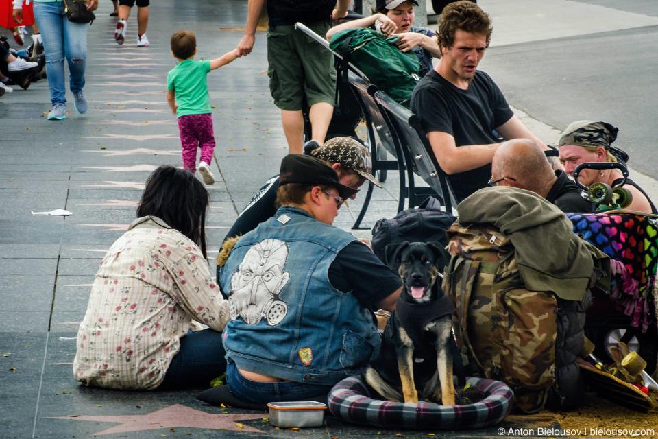 Бездомные на Аллее Славы в Голливуде