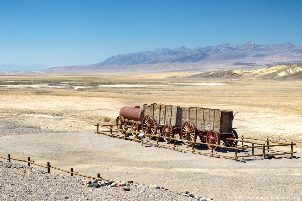 Twenty-mule-team wagons, Death Valley, CA