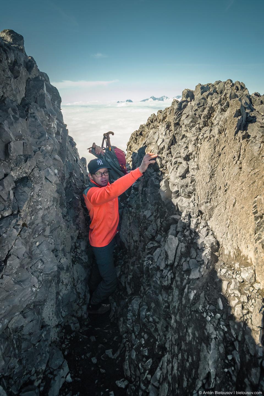 Climbing Black Tusk chute