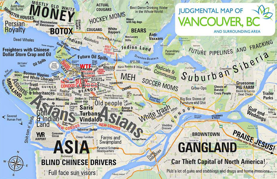 Judgemental map of Vancouver, BC