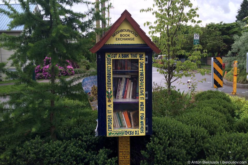 Community book sharing in East Vancouver neighbourhood