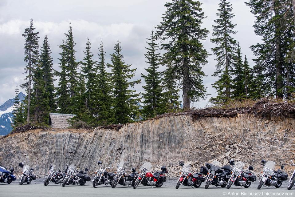 Motor bikes at Baker Mountain ski resort parking
