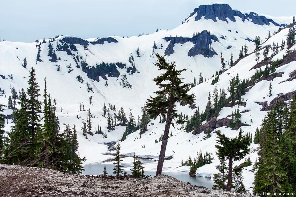 Heather Meadows in snow, Baker Mountain