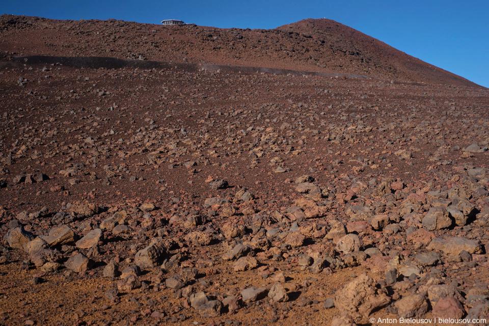Haleakala Crater breccia cinders landscape at sunset (Maui, HI)