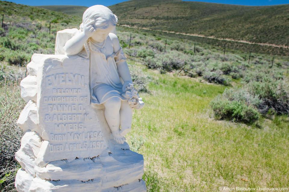 Cemetery child grave monument, Bodie, CA