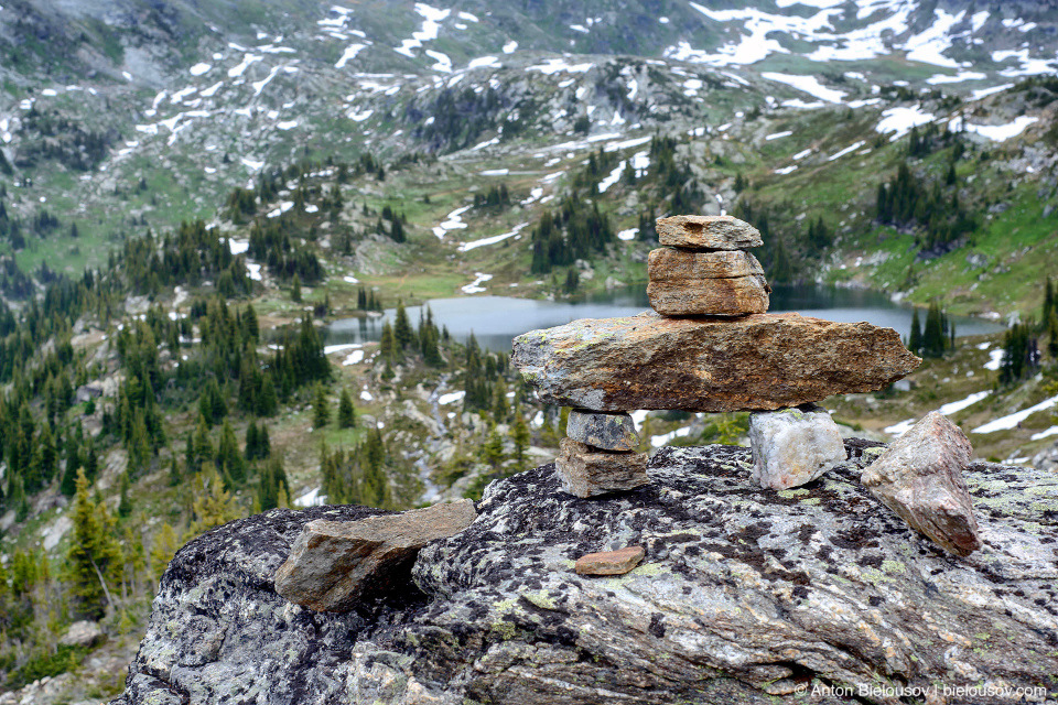 Inuksuk at Sheila Lake, trophy Mountain, Wells Gray Provincial Park, BC