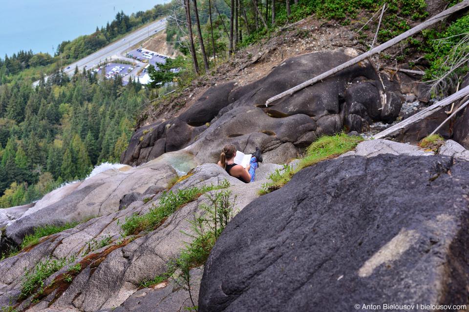 Reading at Shannon Falls Cascade (Squamish, BC)