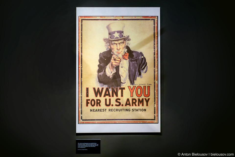 Seattle Museum of Flight: агитационные плакаты времен Первой мировой войны: I Want YOU for U.S.Army