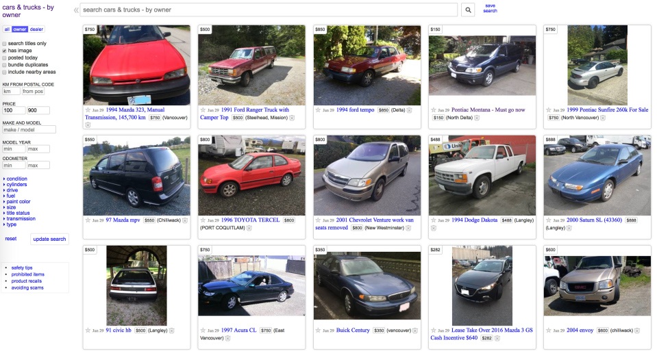 Vancouver: cheap cars on Craigslist