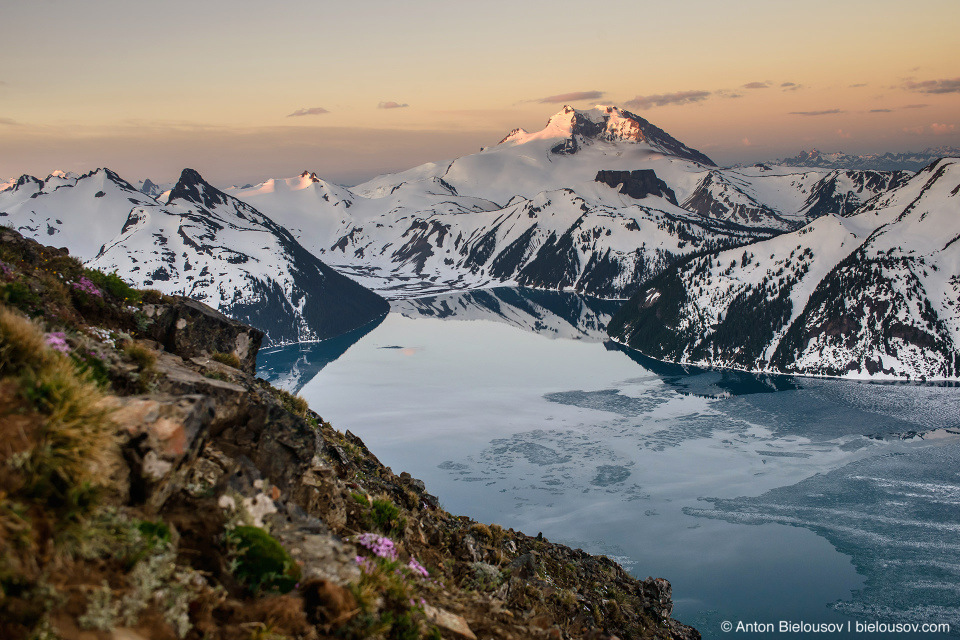 Garibaldi Mountain and Garibaldi Lake from Panorama Ridge at dawn