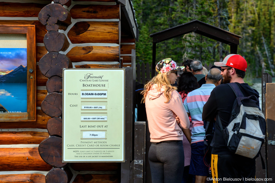 Boat rental prices and business hours at Lake Louise (Banff National Park)