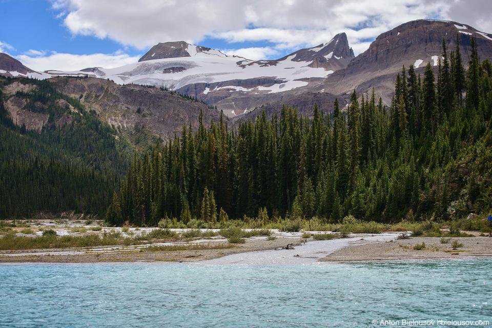 Bow Lake glacier streams delta (Banff National Park)