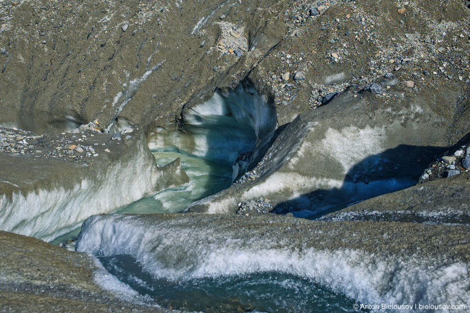 Athabasca Glacier meltwater flows, Columbia Icefield, Jasper National Park