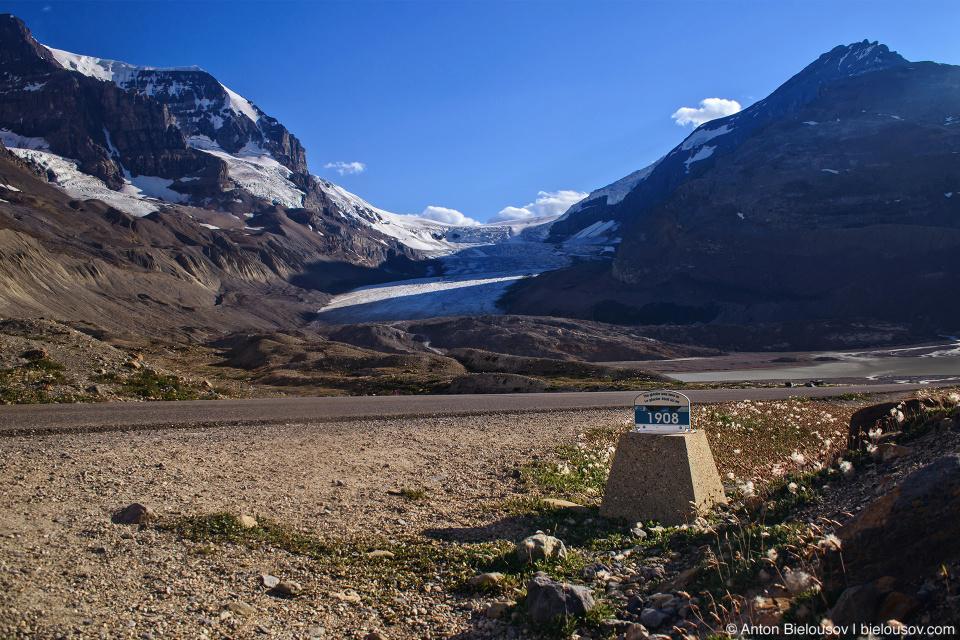 Athabasca Glacier 1908 mark, Columbia Icefield, Jasper National Park