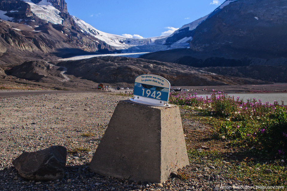 Athabasca Glacier 1942 mark, Columbia Icefield, Jasper National Park