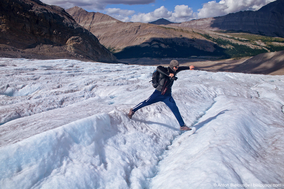 Hiking Athabasca Glacier, Columbia Icefield, Jasper National Park