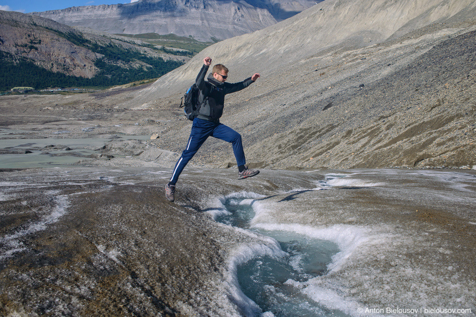 Hiking Athabasca Glacier, Columbia Icefield, Jasper National Park