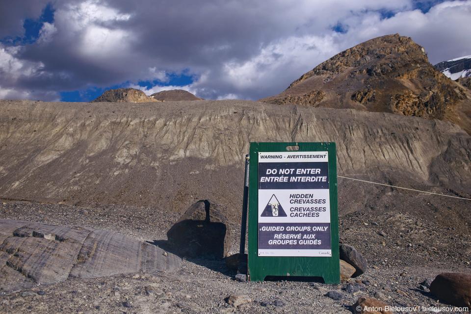 Athabasca Glacier danger sign, Columbia Icefield, Jasper National Park