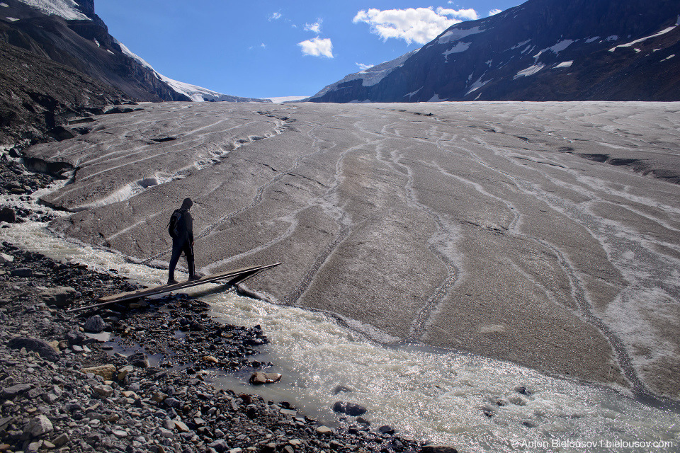 Stepping onto Athabasca Glacier, Columbia Icefield, Jasper National Park
