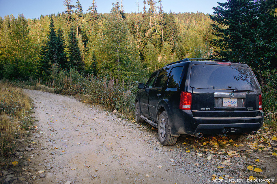 Honda Pilot at Mount Sproatt forestry service road