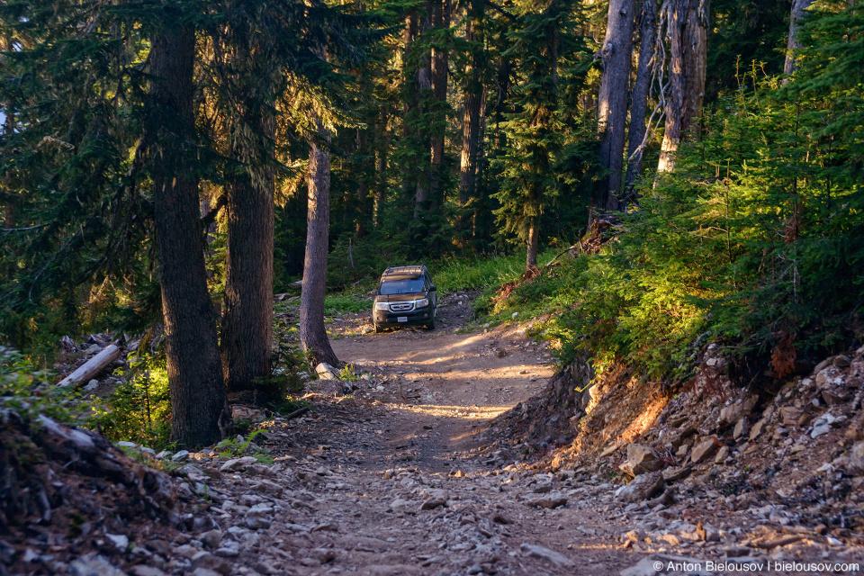 Honda Pilot at Mount Sproatt alpine trail