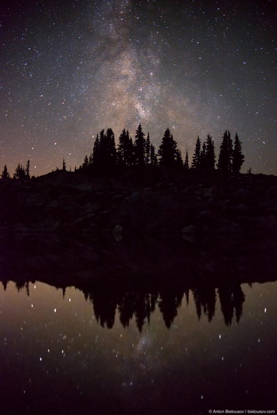 Млечный путь отражается в воде озера