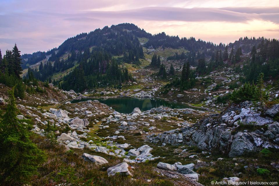 Morning at Mount Sproatt alpine lake