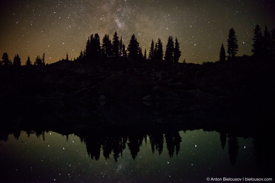 Mily Way reflection in alpine lake
