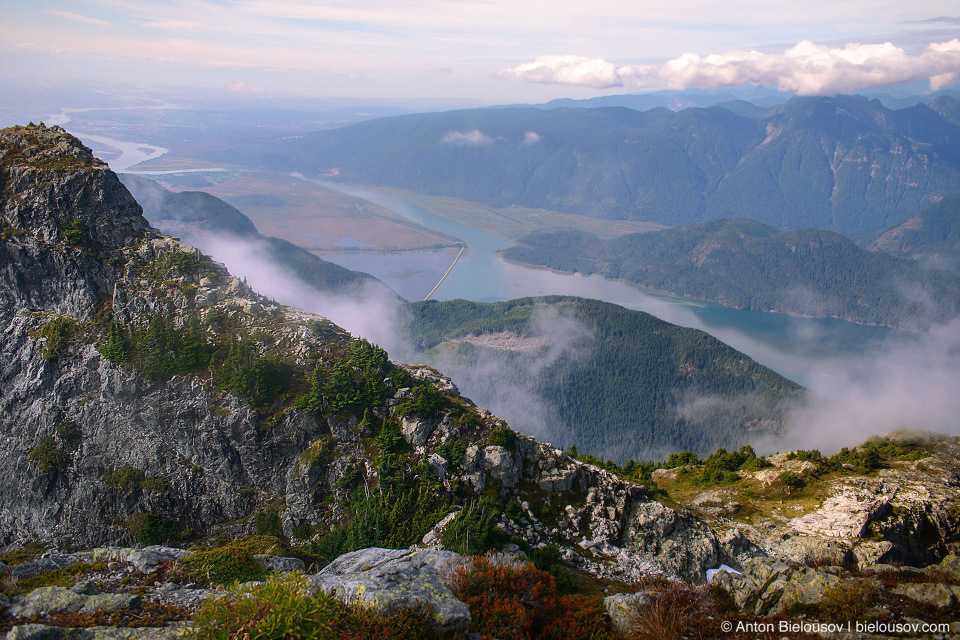 Golden Ears Peak trail view to Pitt Lake and Grant Narrows Regional Park